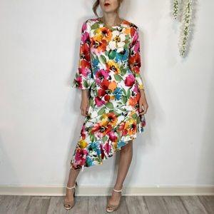 NWT ISSUE asymmetrical ruffled dress floral